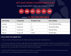 Vé trúng Jackpot Mega 6/45 kỳ 372 được phát hành tại Đà Nẵng